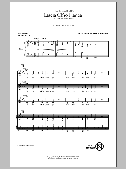 George Frideric Handel Lascia Ch'io Pianga sheet music notes and chords. Download Printable PDF.