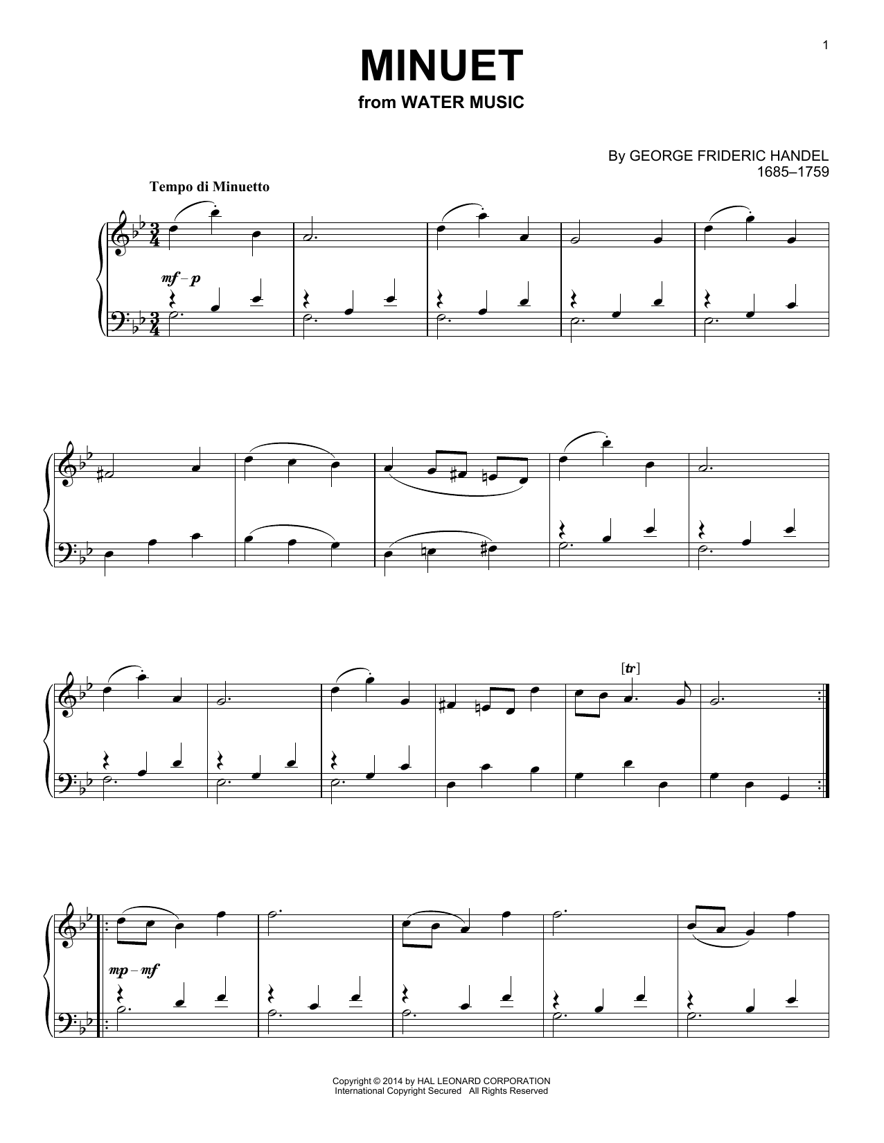 George Frideric Handel Minuet sheet music notes and chords