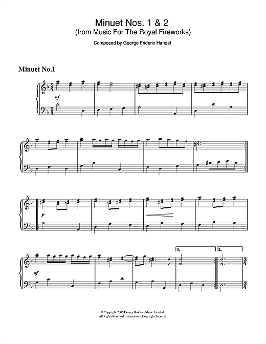 George Frideric Handel Minuet Nos.1 & 2 (from Music For The Royal Fireworks) sheet music notes and chords. Download Printable PDF.
