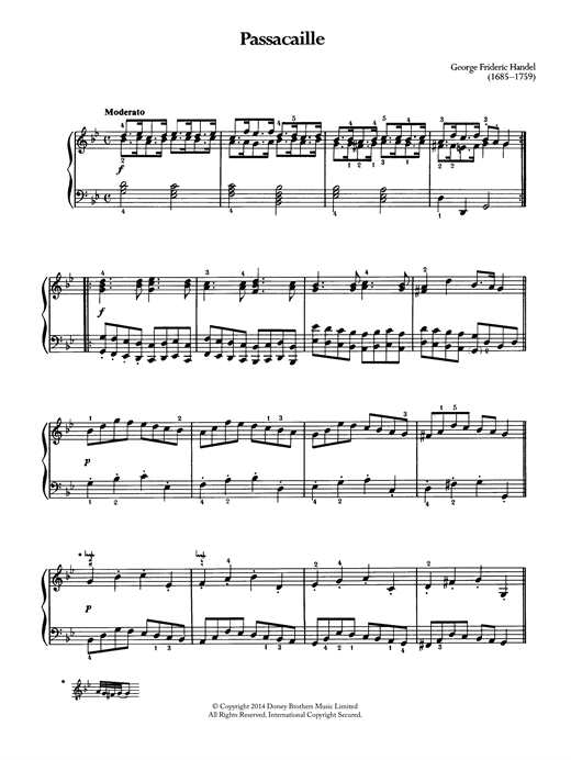 George Frideric Handel Passacaille sheet music notes and chords