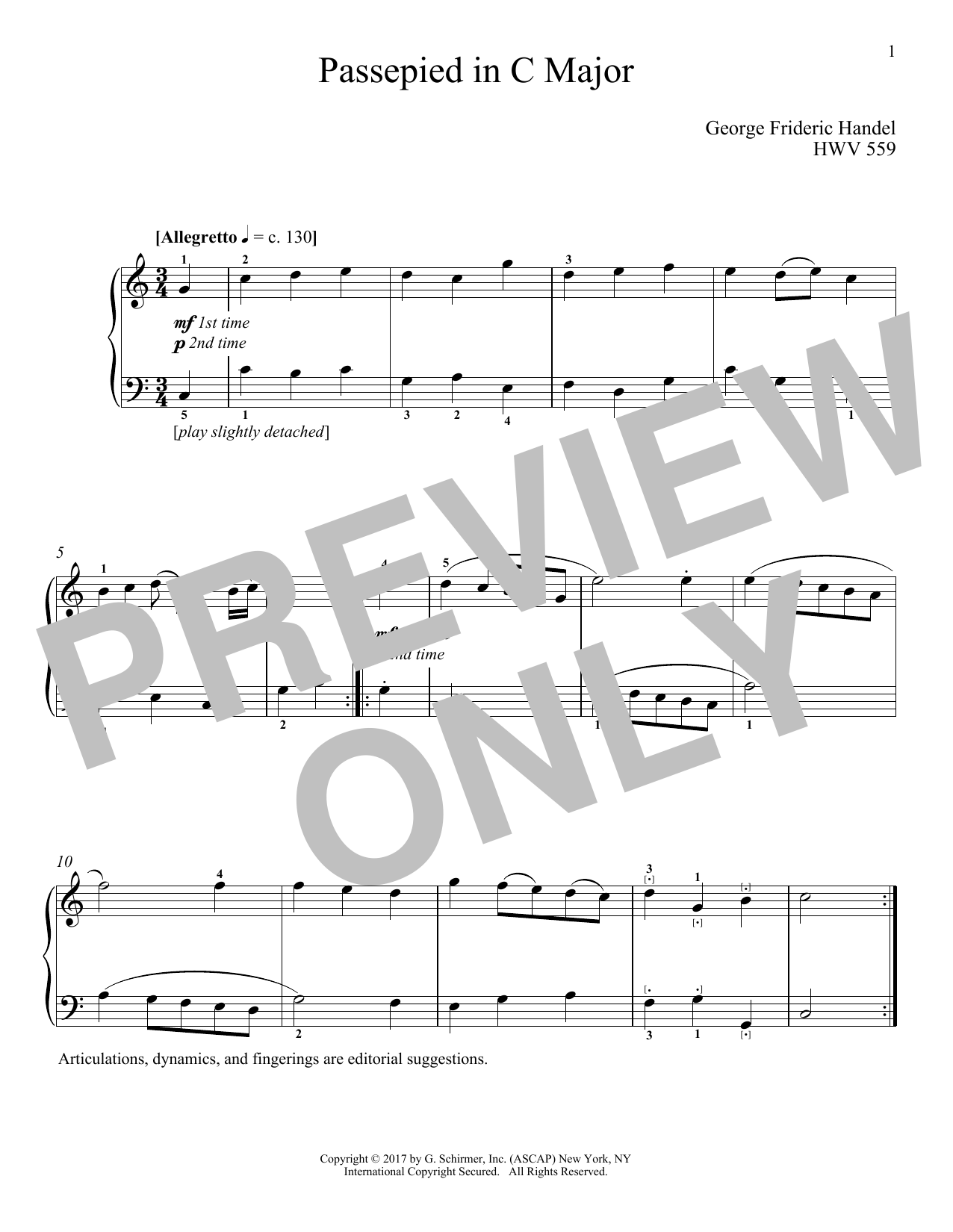 George Frideric Handel Passepied In C Major, HWV 559 sheet music notes and chords. Download Printable PDF.