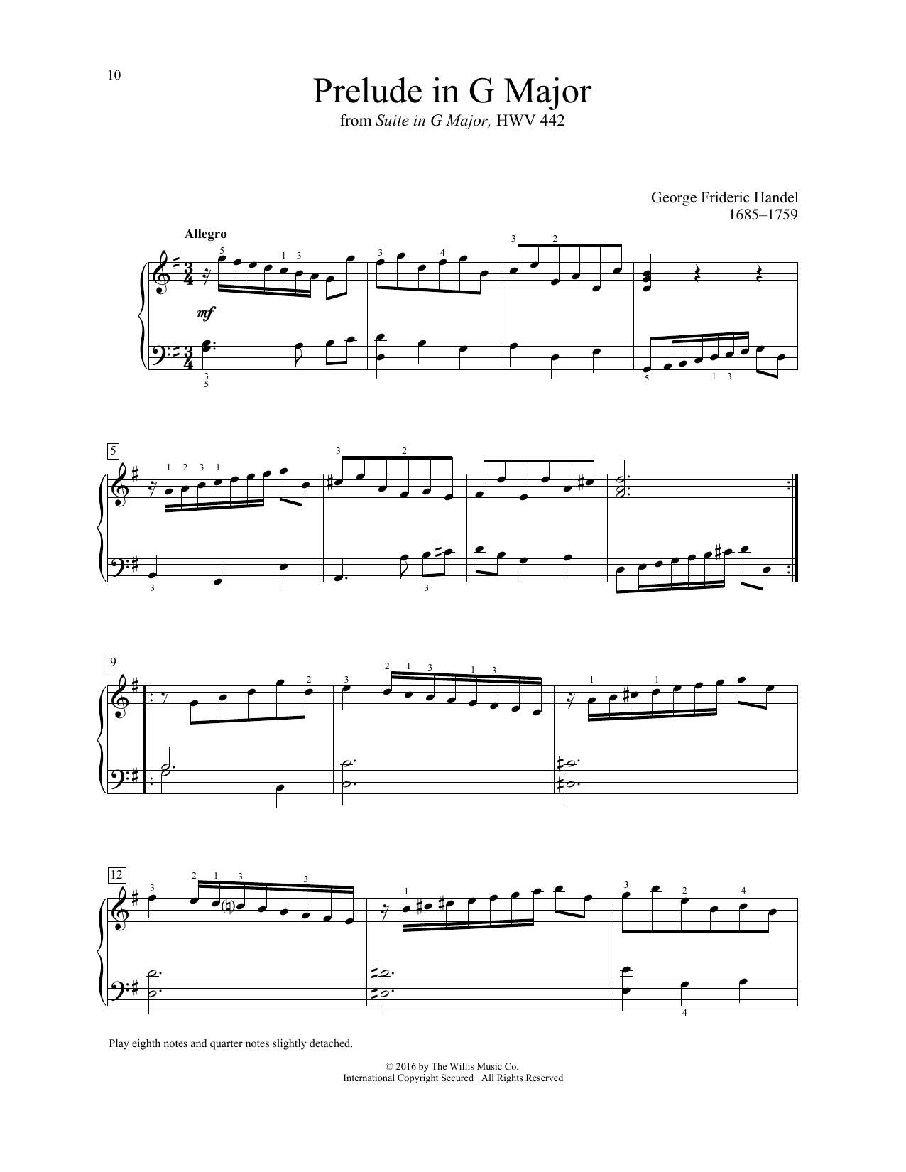 George Frideric Handel Prelude In G Major sheet music notes and chords. Download Printable PDF.