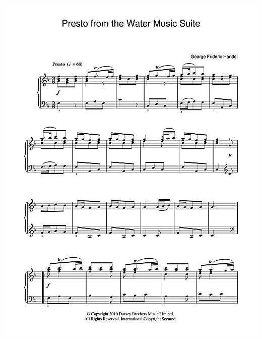 George Frideric Handel Presto (from The Water Music Suite) sheet music notes and chords. Download Printable PDF.