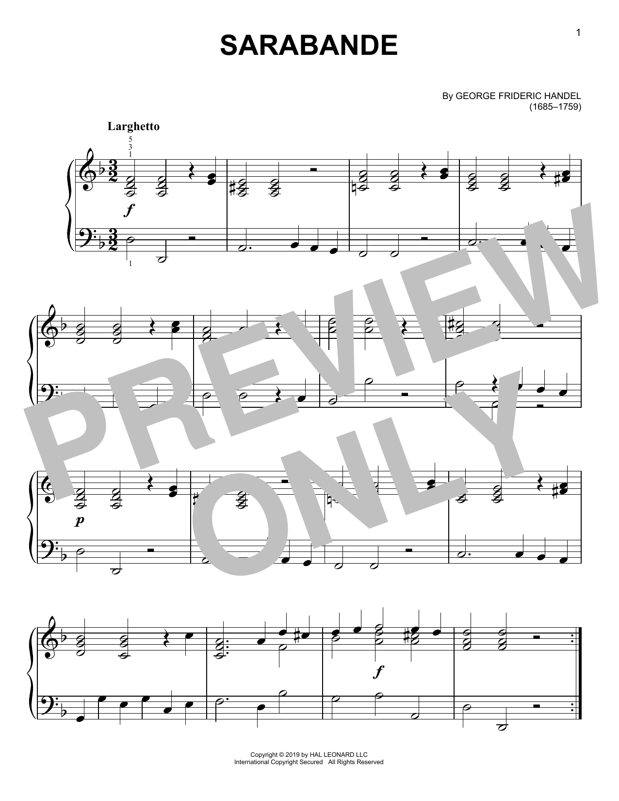 George Frideric Handel Sarabande sheet music notes and chords