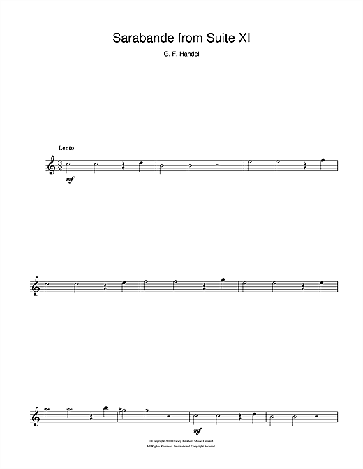 George Frideric Handel Sarabande (from Suite XI) sheet music notes and chords. Download Printable PDF.