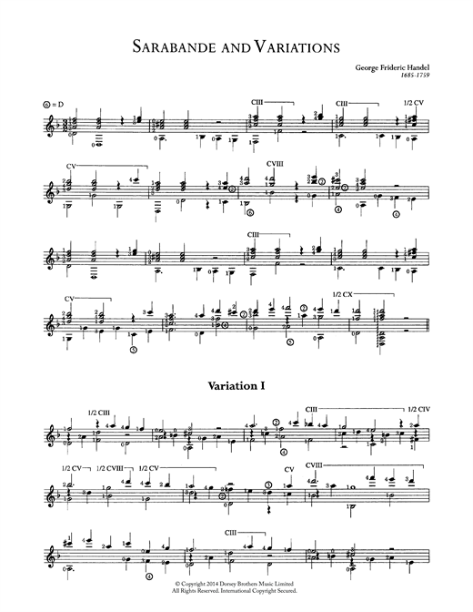 George Frideric Handel Sarabande And Variations sheet music notes and chords