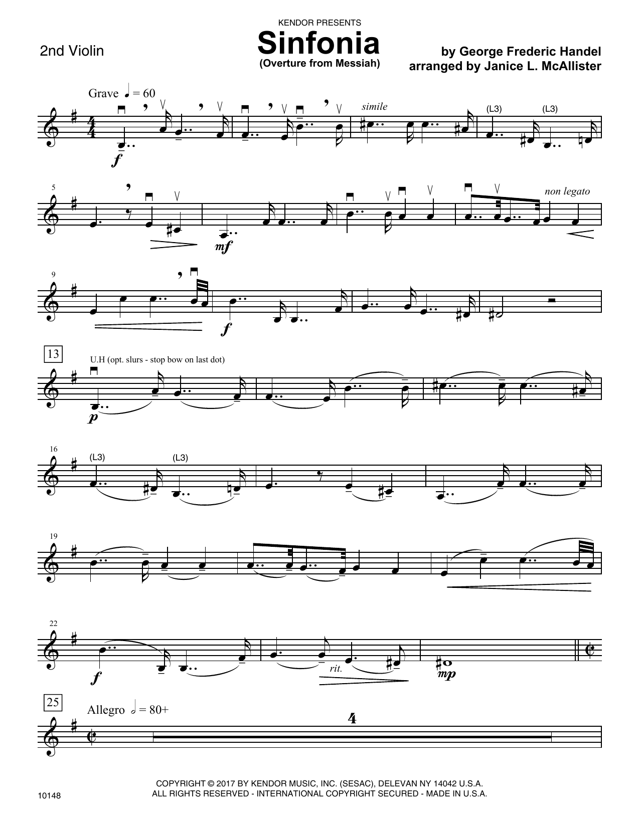 George Frideric Handel Sinfonia (Overture from Messiah) - 2nd Violin sheet music notes and chords. Download Printable PDF.
