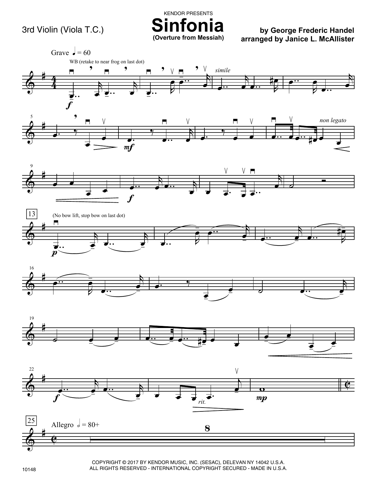 George Frideric Handel Sinfonia (Overture from Messiah) - Violin 3 (Viola T.C.) sheet music notes and chords. Download Printable PDF.