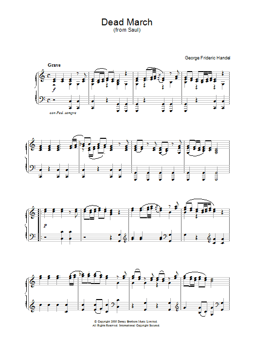 George Frideric Handel Dead March (from Saul) sheet music notes and chords. Download Printable PDF.