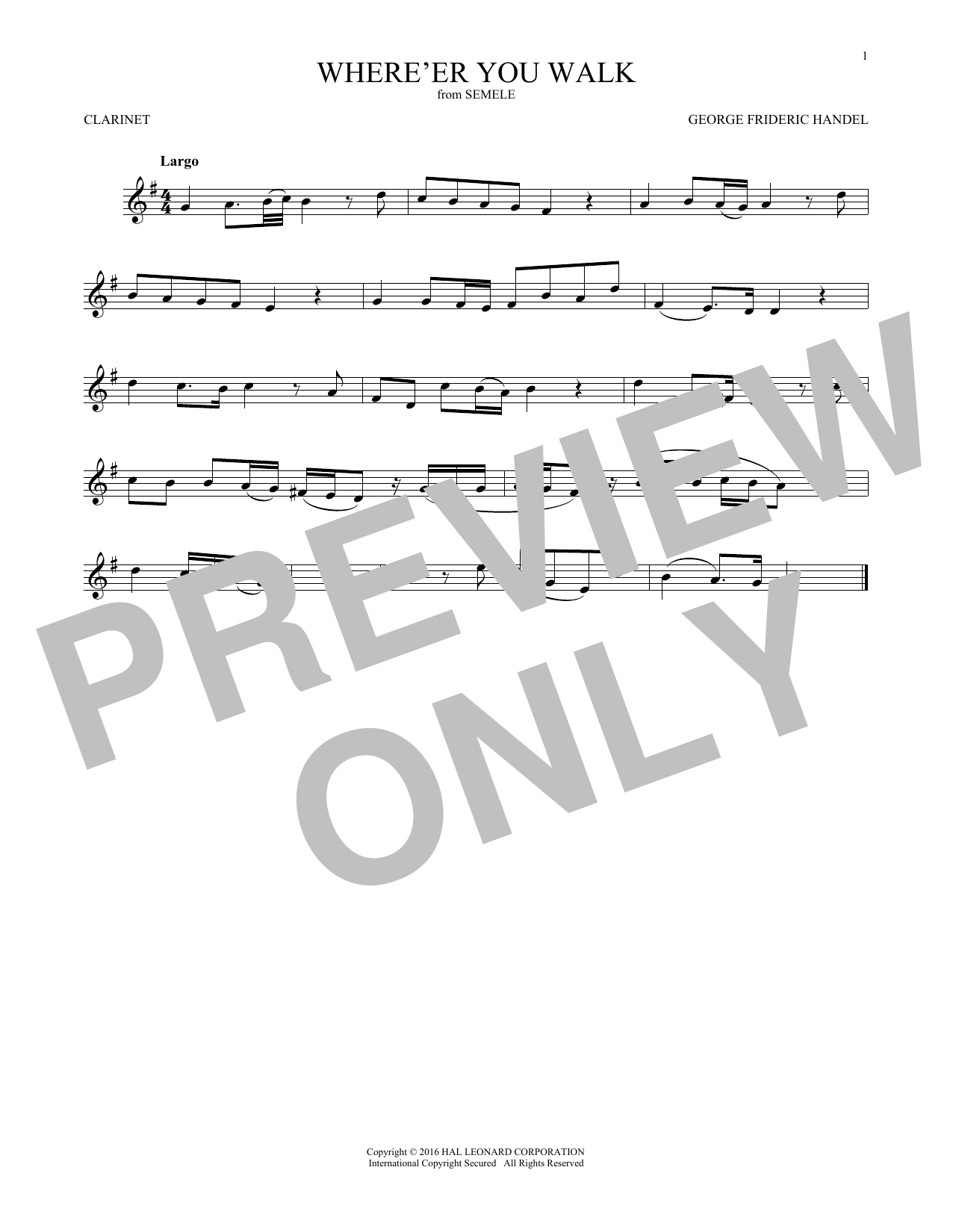 George Frideric Handel Where E'er You Walk sheet music notes and chords. Download Printable PDF.
