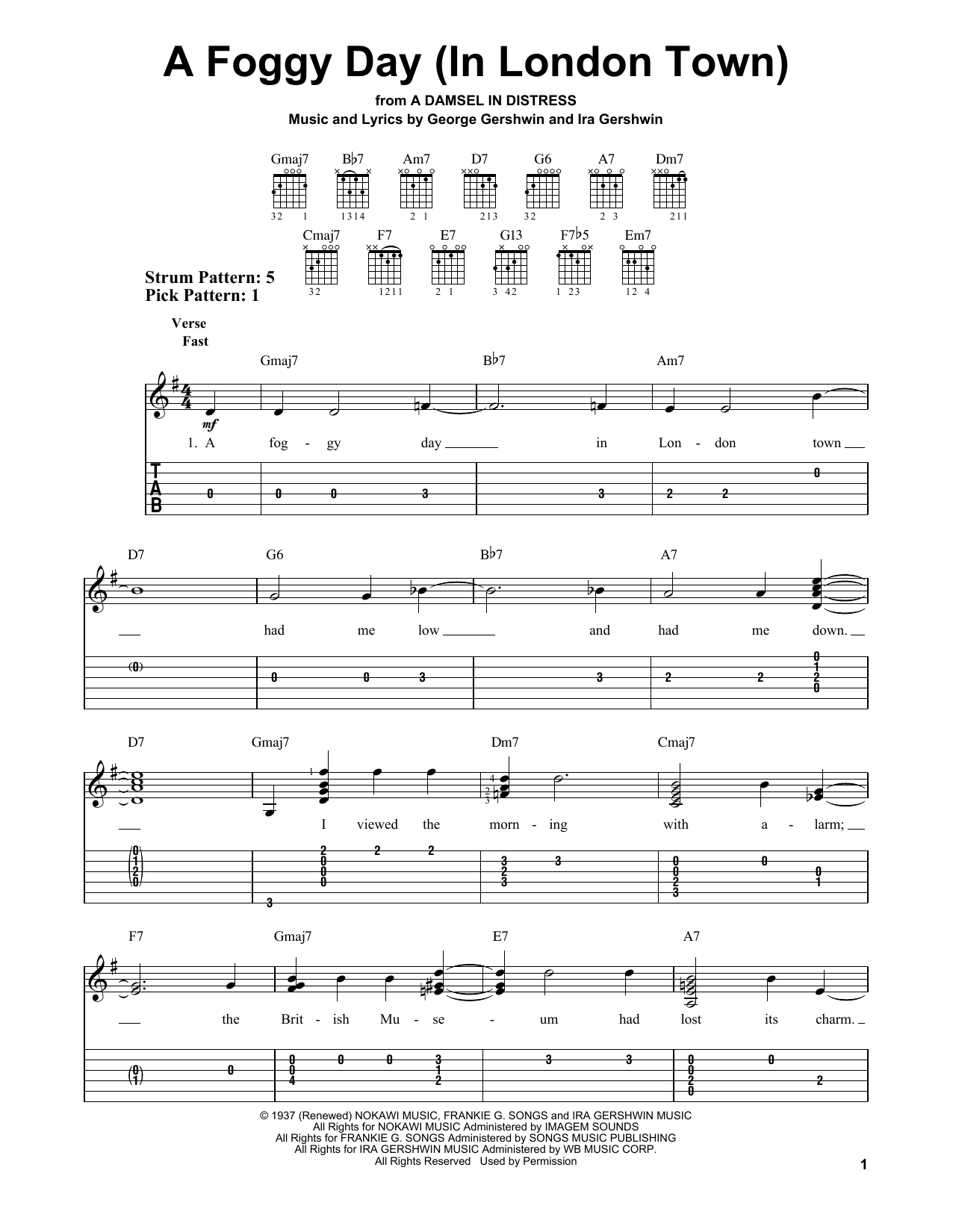 George Gershwin A Foggy Day (In London Town) sheet music notes and chords. Download Printable PDF.