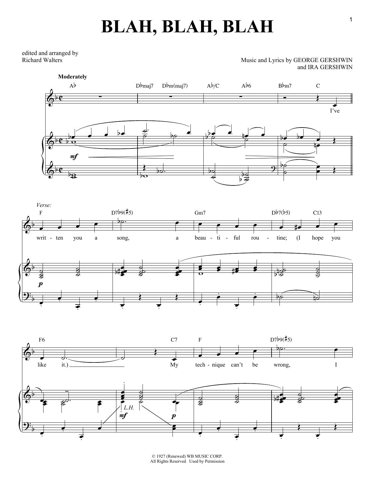 George Gershwin Blah, Blah, Blah sheet music notes and chords. Download Printable PDF.