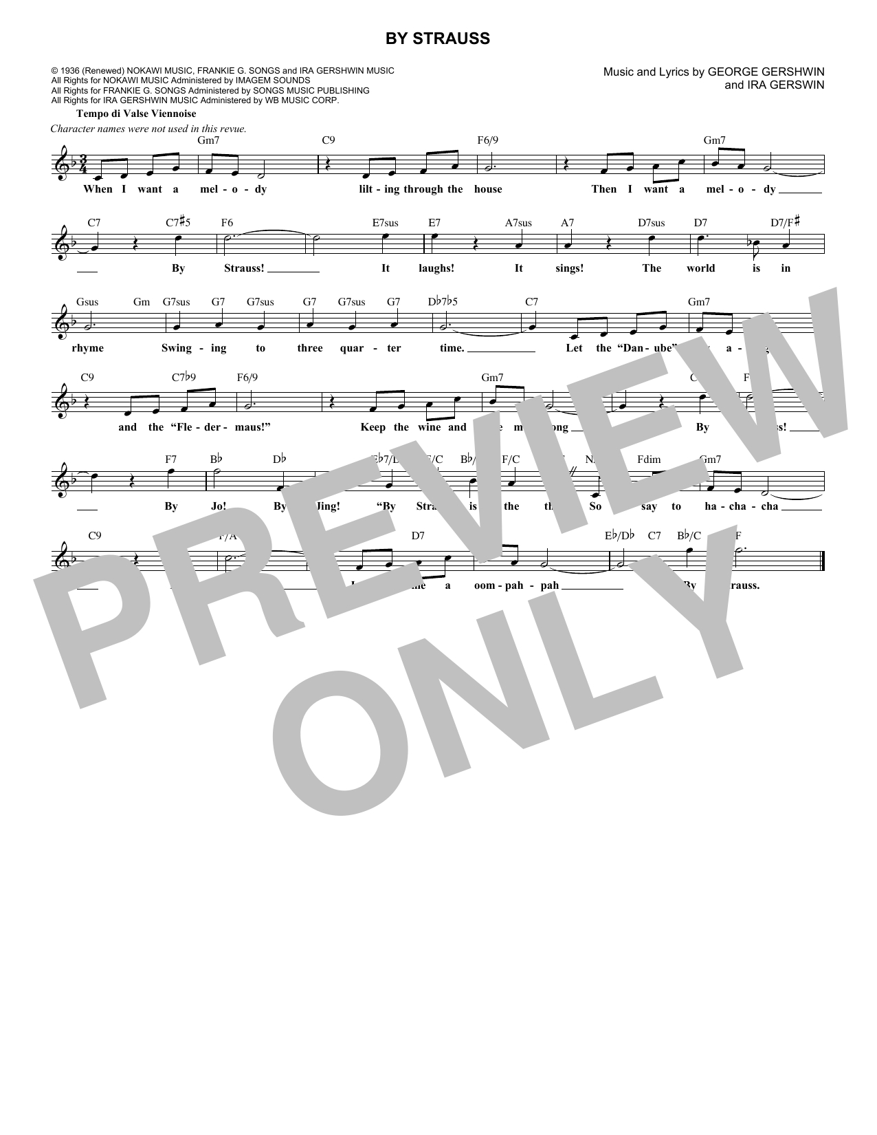 George Gershwin By Strauss sheet music notes and chords. Download Printable PDF.