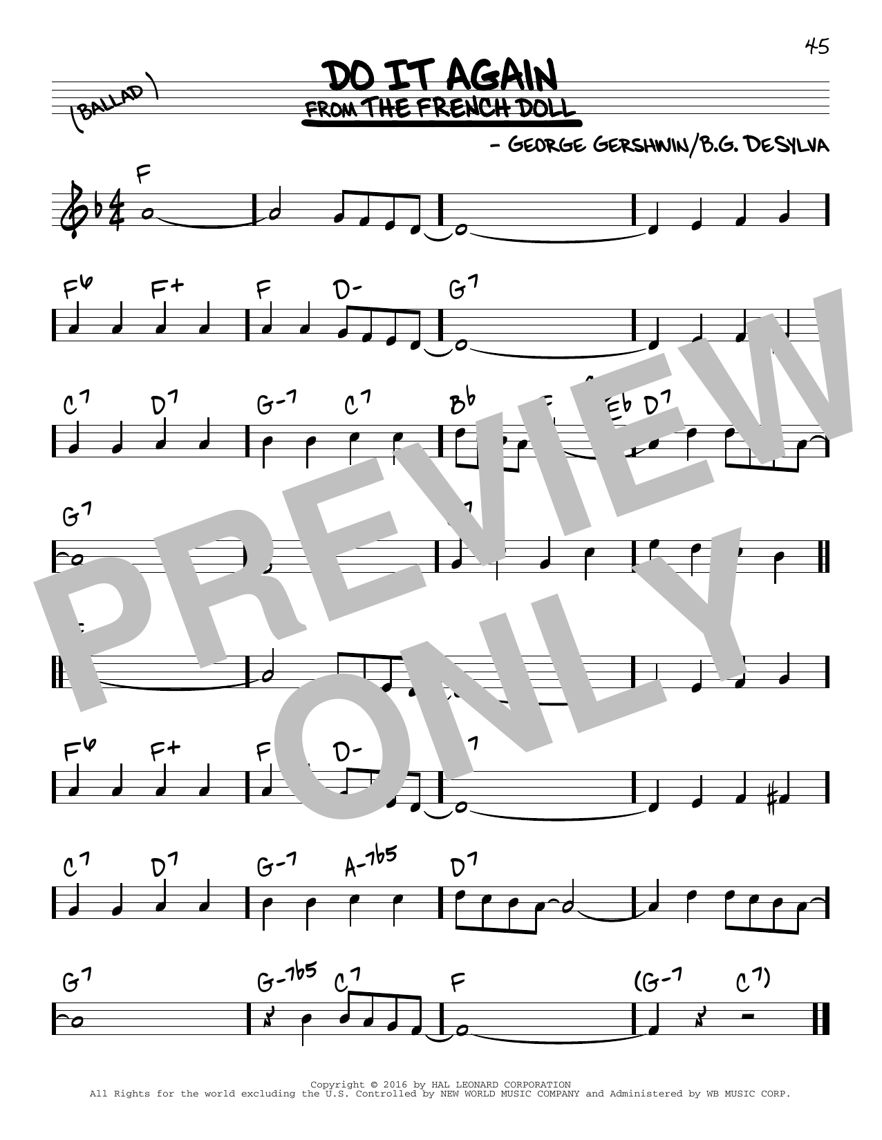 George Gershwin Do It Again sheet music notes and chords