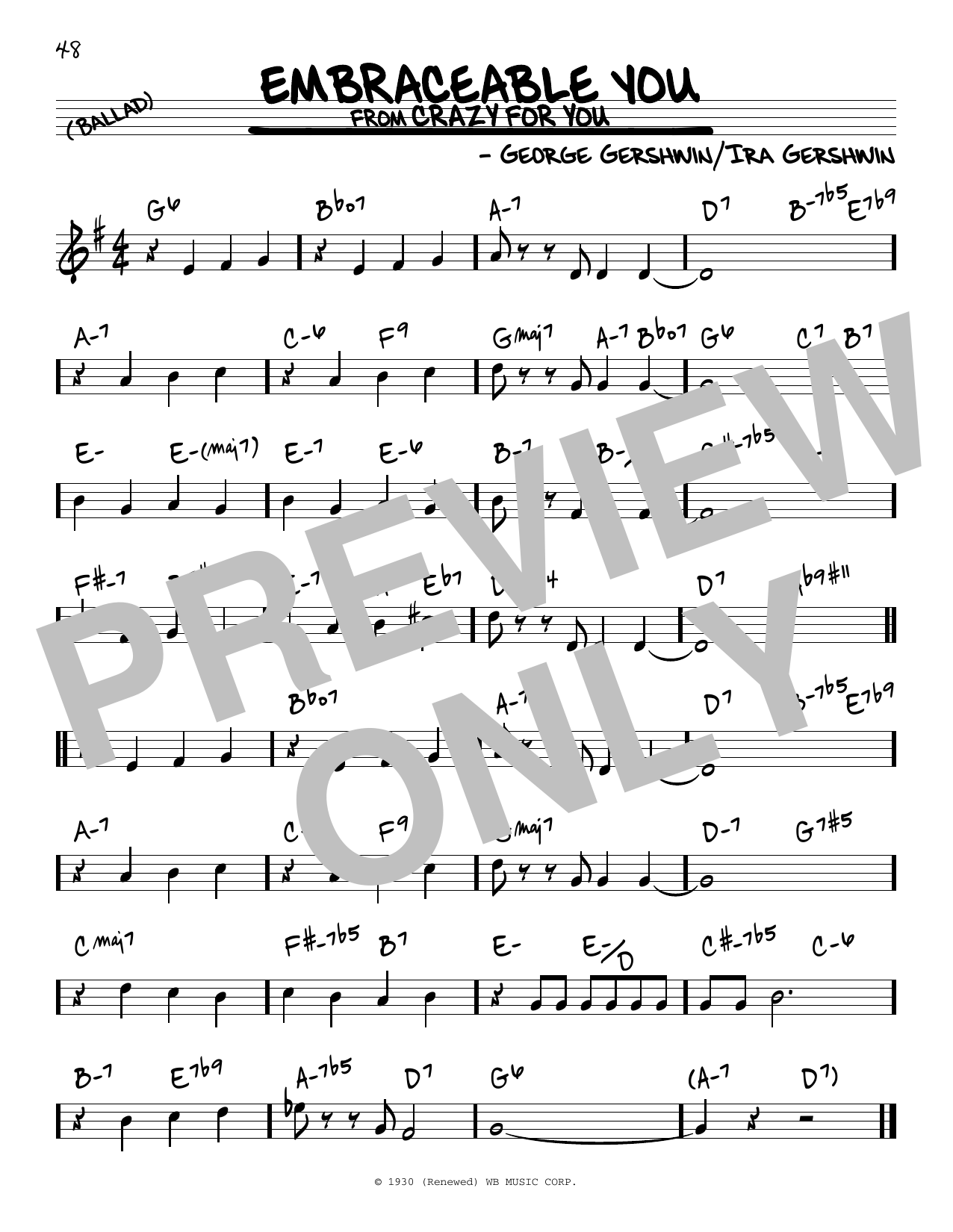 George Gershwin Embraceable You sheet music notes and chords. Download Printable PDF.