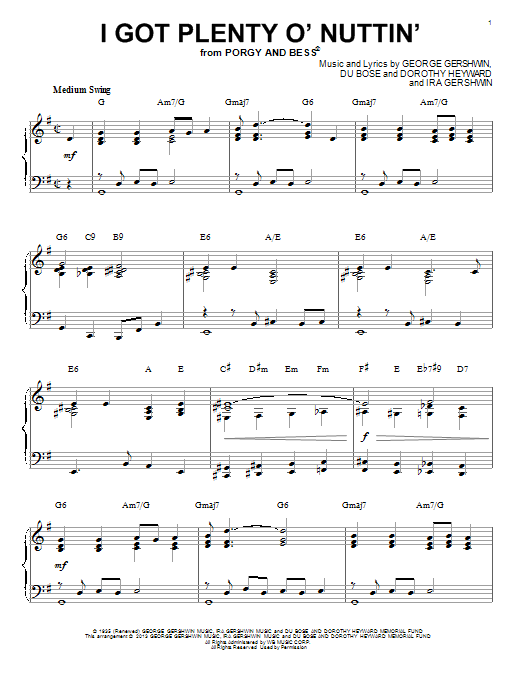George Gershwin I Got Plenty O' Nuttin' sheet music notes and chords. Download Printable PDF.