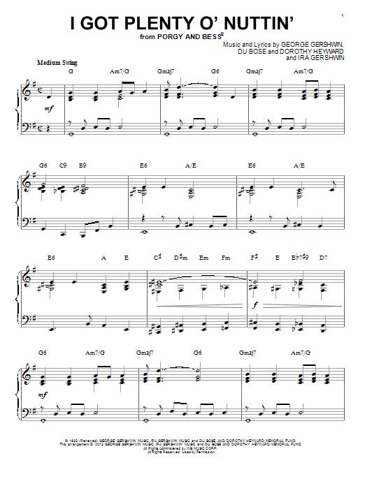 George Gershwin I Got Plenty O' Nuttin' [Jazz version] (arr. Brent Edstrom) sheet music notes and chords. Download Printable PDF.