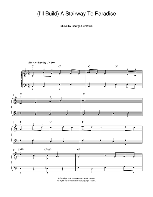 George Gershwin I'll Build A Stairway To Paradise sheet music notes and chords. Download Printable PDF.