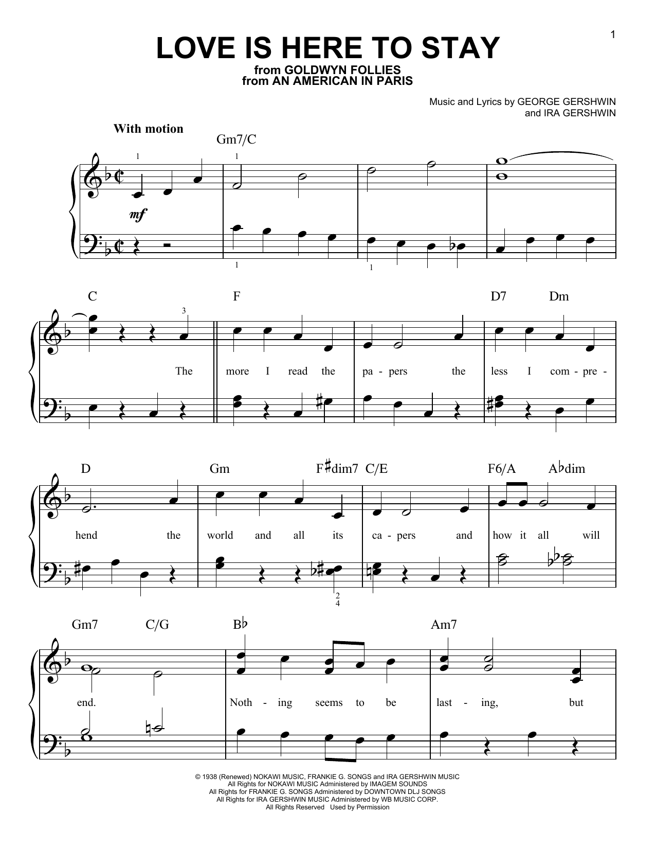 George Gershwin Love Is Here To Stay sheet music notes and chords. Download Printable PDF.
