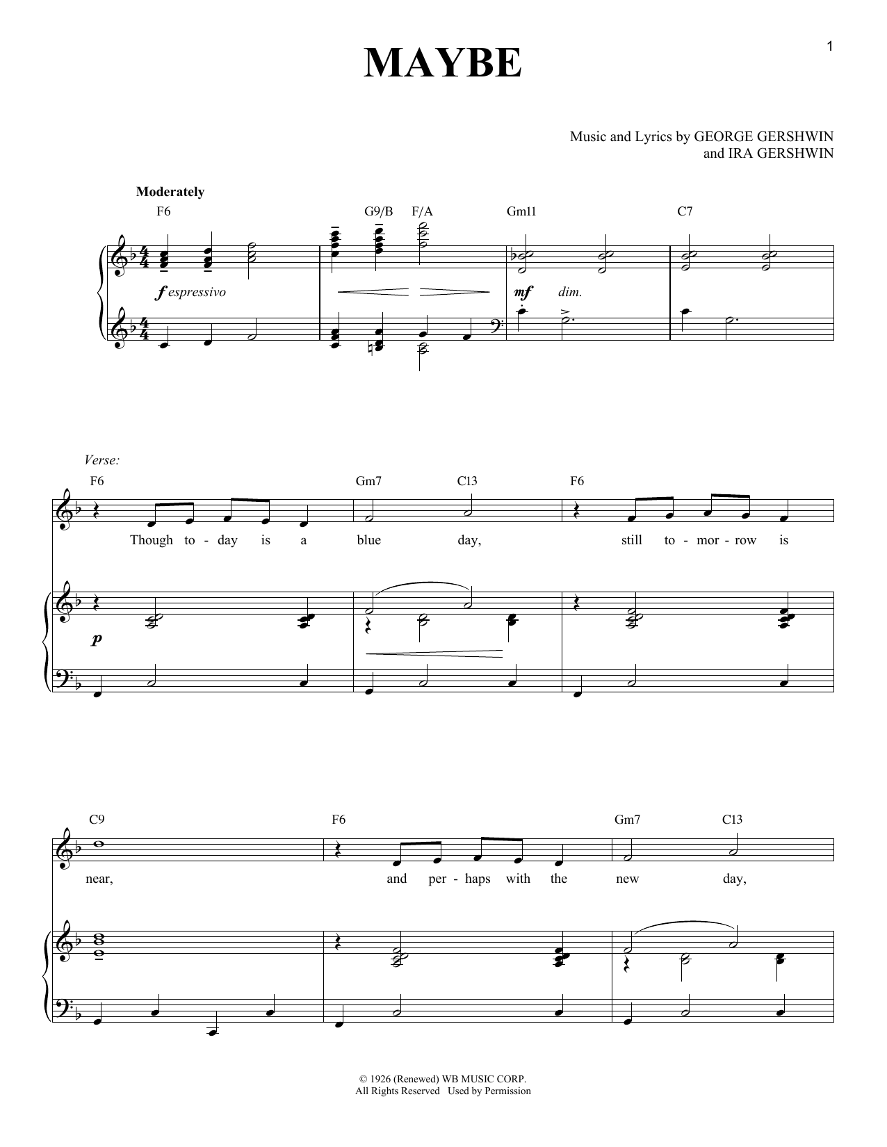 George Gershwin Maybe sheet music notes and chords. Download Printable PDF.