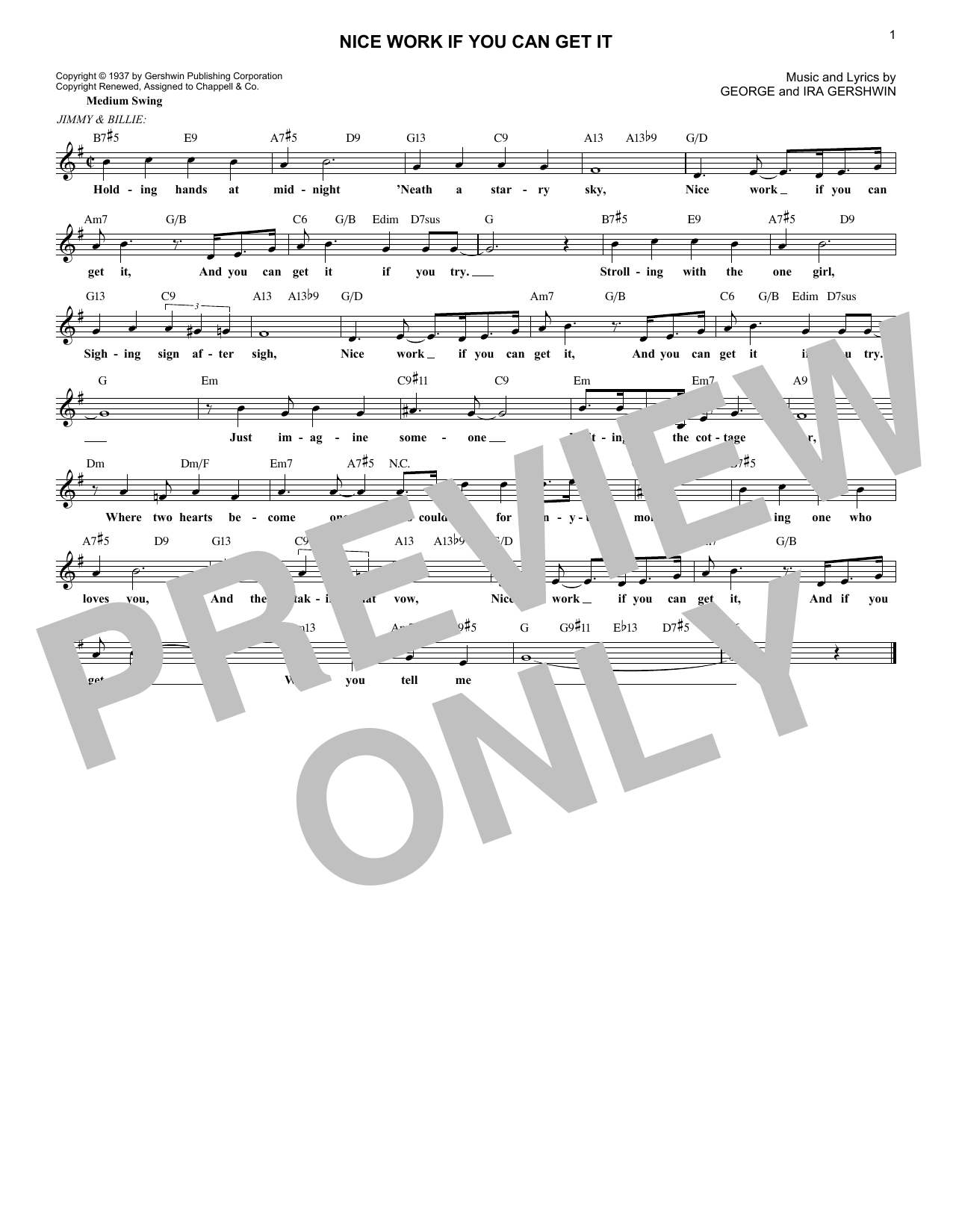 George Gershwin Nice Work If You Can Get It sheet music notes and chords