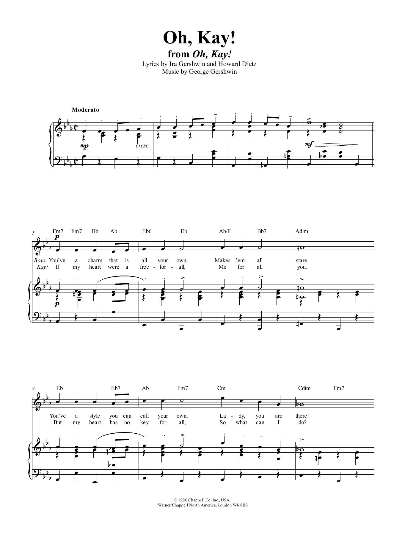 George Gershwin Oh, Kay sheet music notes and chords. Download Printable PDF.