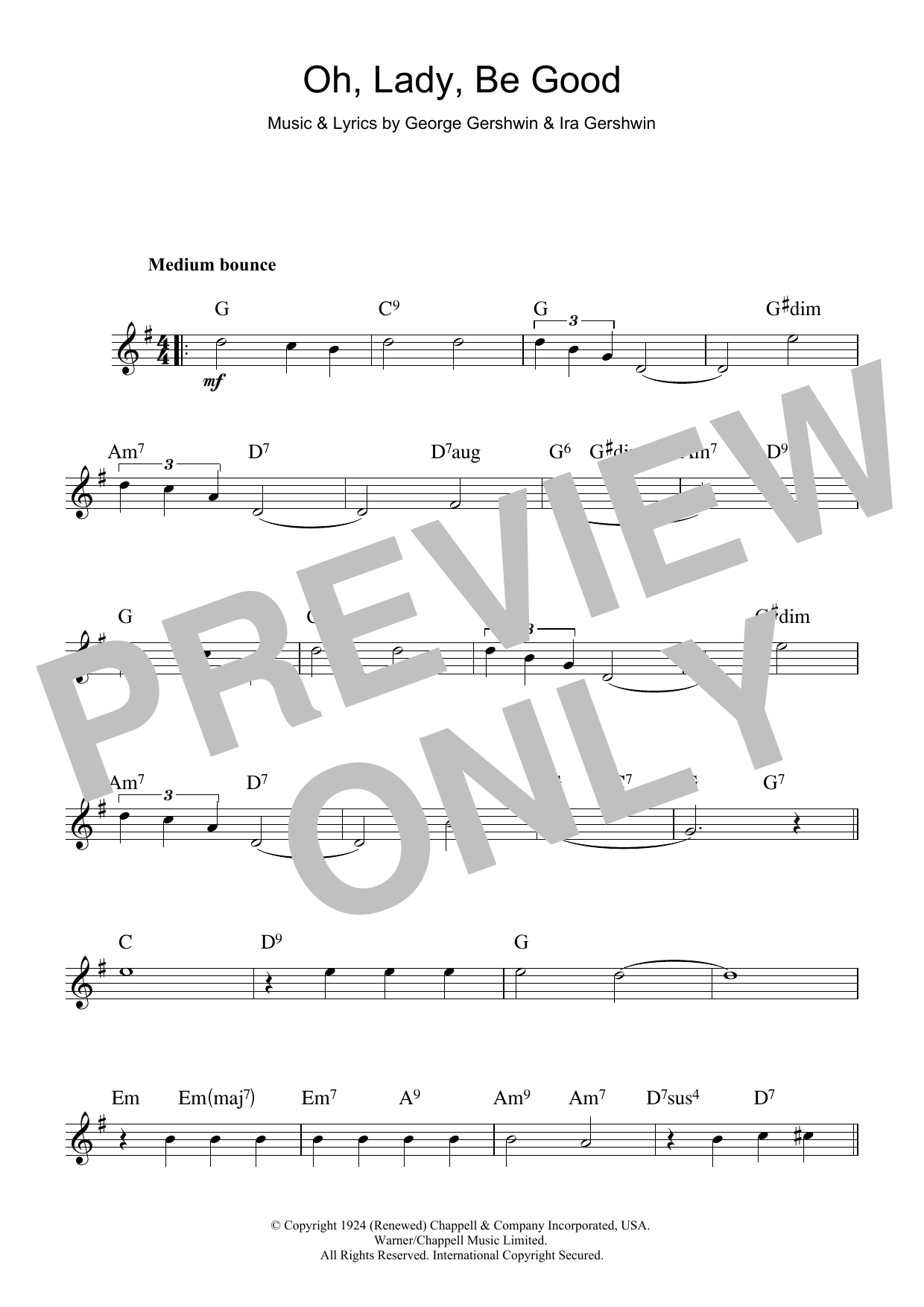 George Gershwin Oh, Lady, Be Good sheet music notes and chords. Download Printable PDF.