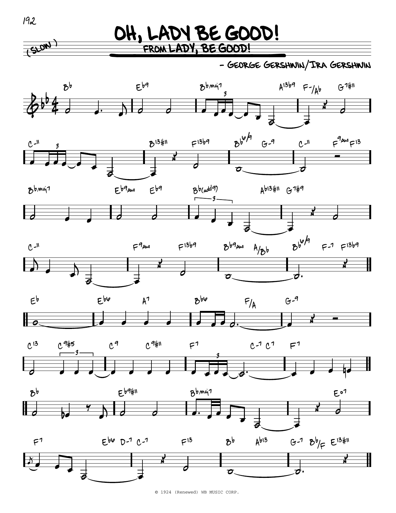 George Gershwin Oh, Lady Be Good! sheet music notes and chords. Download Printable PDF.