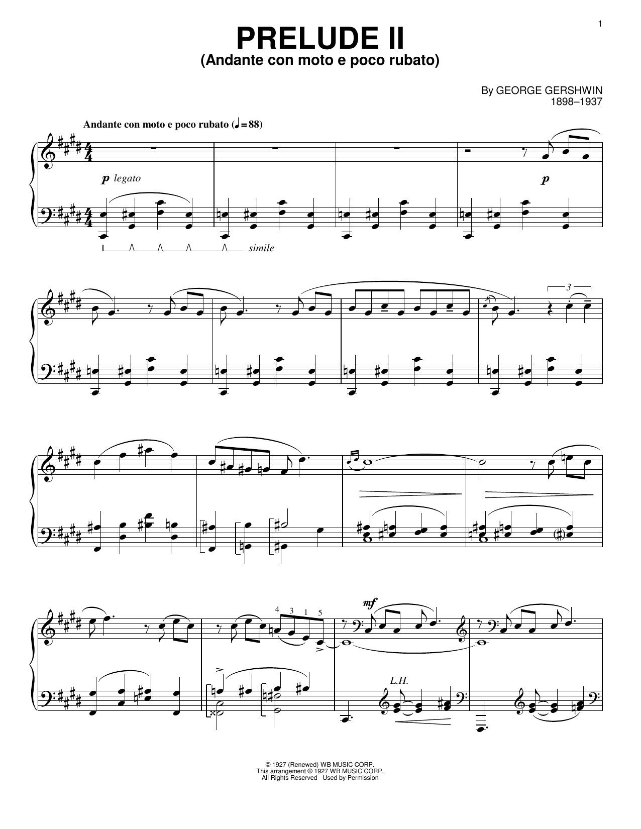 George Gershwin Prelude II (Andante Con Moto E Poco Rubato) sheet music notes and chords. Download Printable PDF.