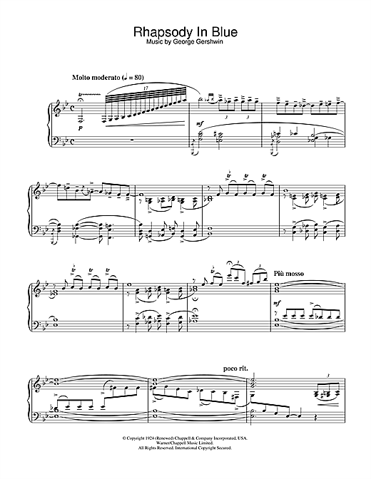 George Gershwin Rhapsody In Blue sheet music notes and chords
