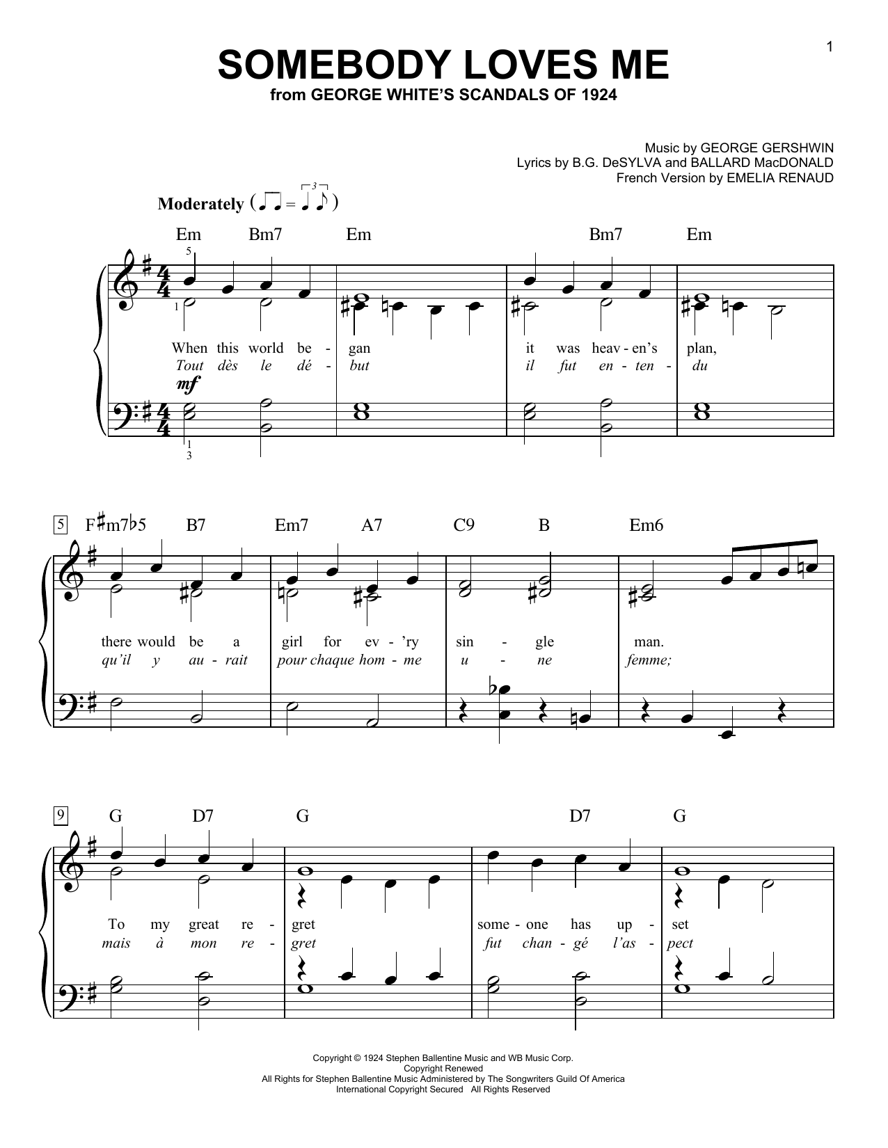 George Gershwin Somebody Loves Me sheet music notes and chords. Download Printable PDF.