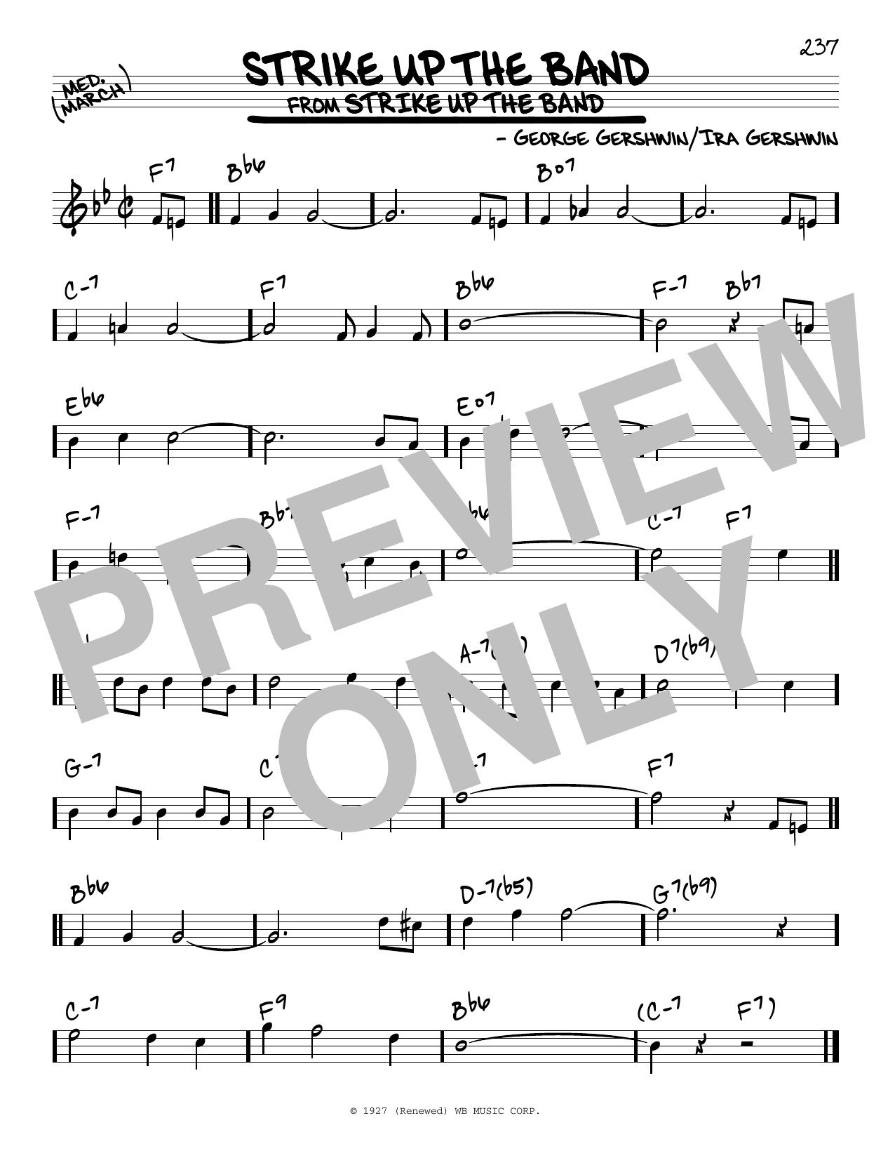 George Gershwin Strike Up The Band sheet music notes and chords. Download Printable PDF.
