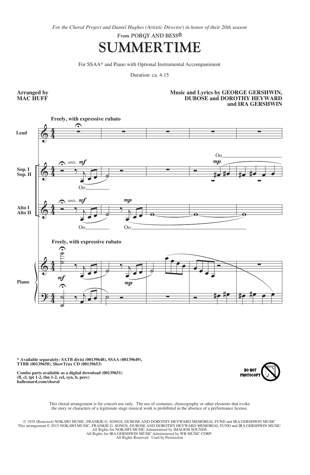 George Gershwin Summertime (arr. Mac Huff) sheet music notes and chords