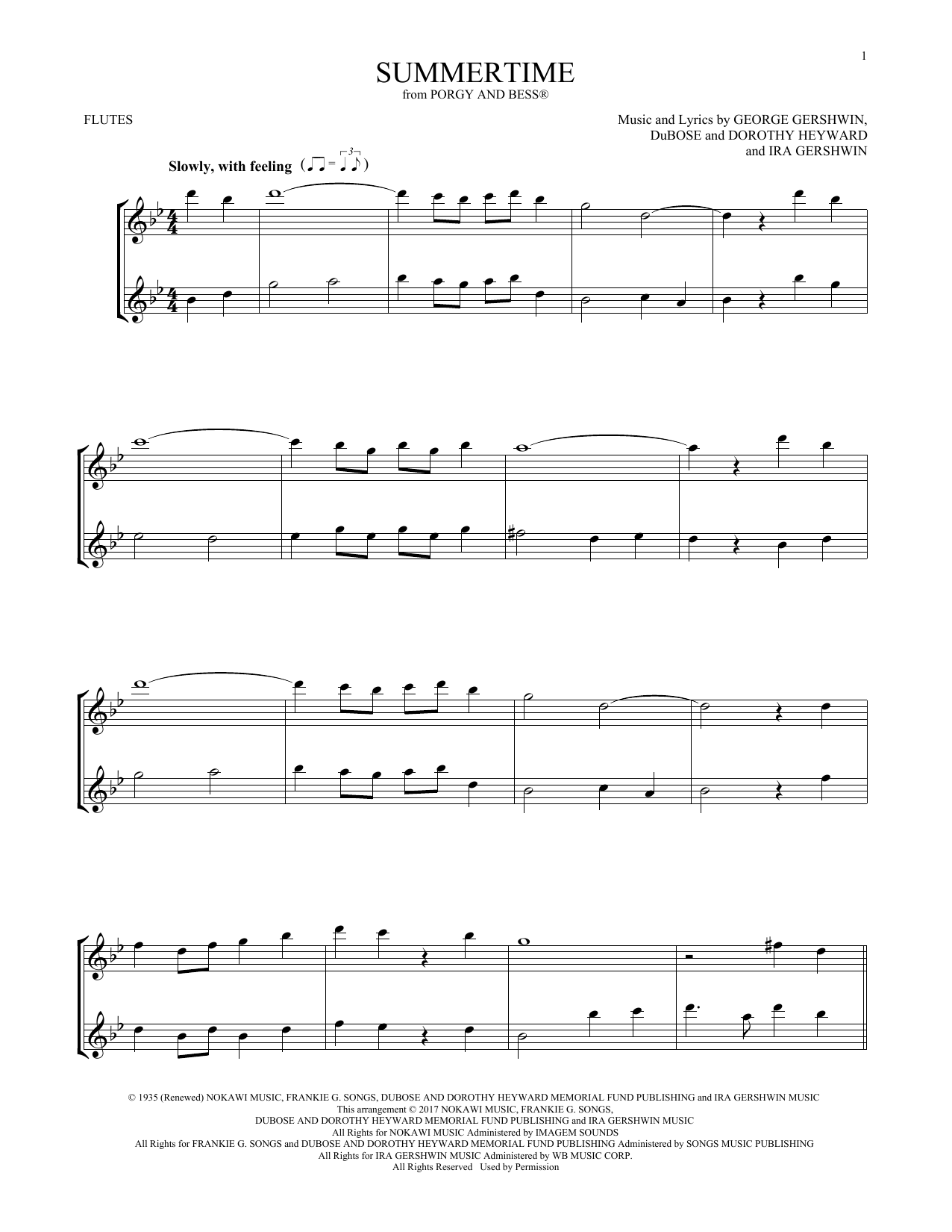 George Gershwin Summertime (from Porgy And Bess) sheet music notes and chords