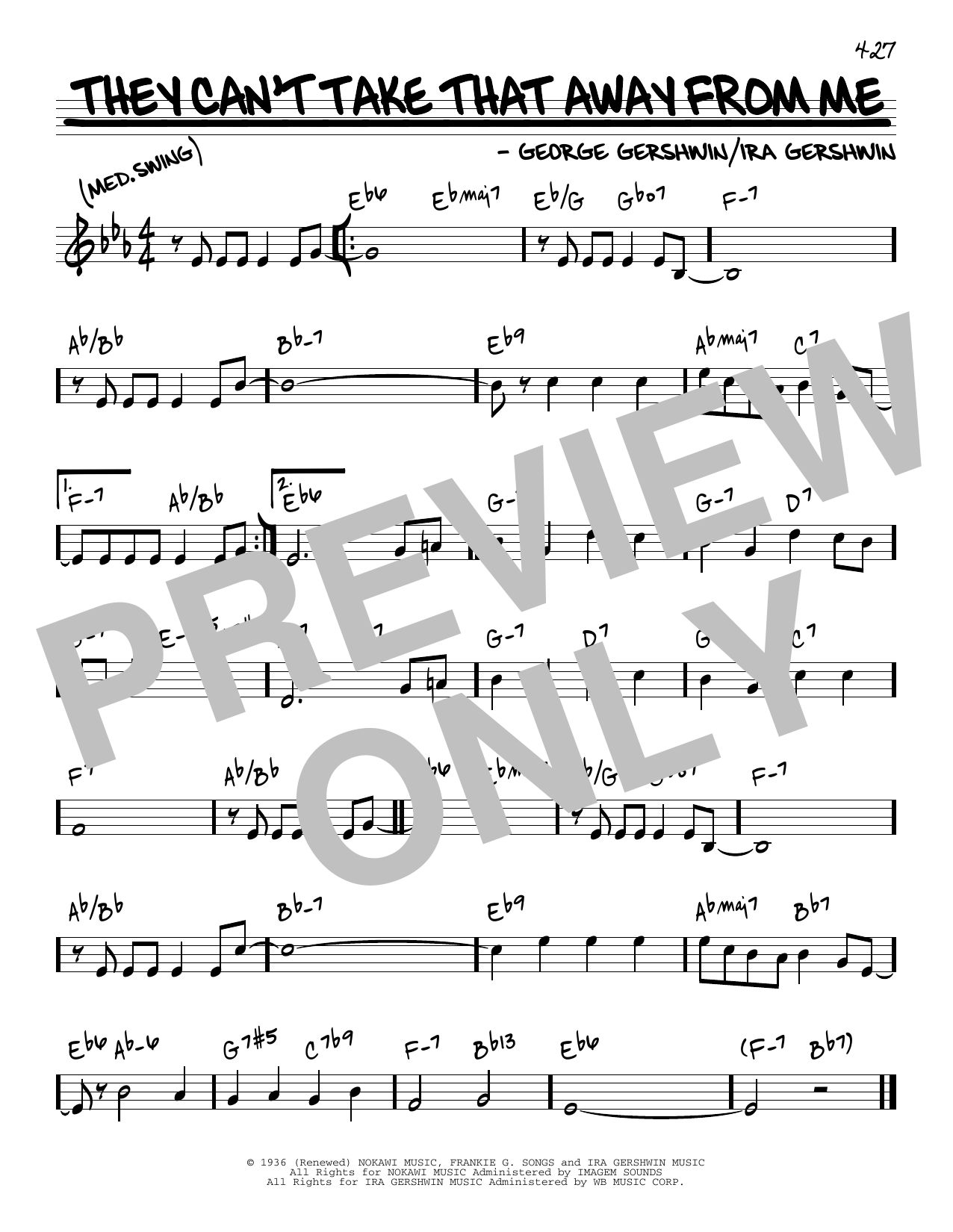 George Gershwin & Ira Gershwin They Can't Take That Away From Me sheet music notes and chords. Download Printable PDF.