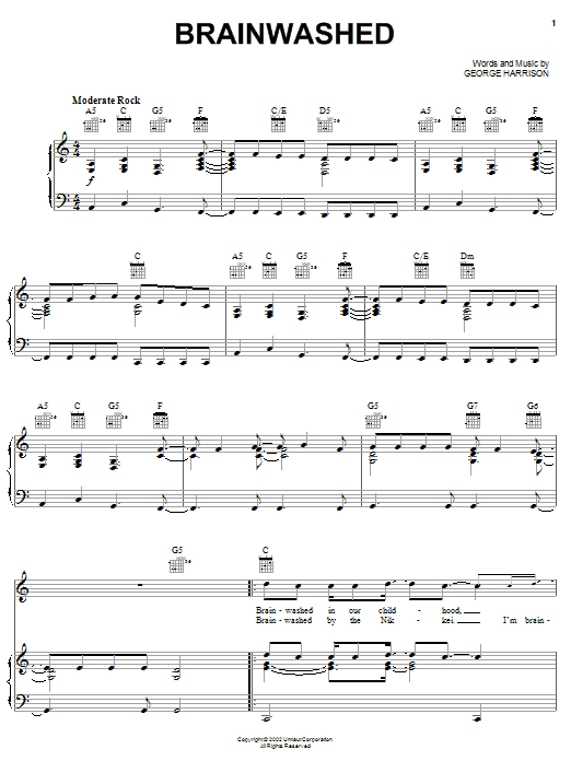 George Harrison Brainwashed sheet music notes and chords. Download Printable PDF.