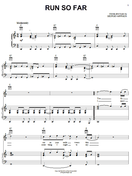 George Harrison Run So Far sheet music notes and chords. Download Printable PDF.