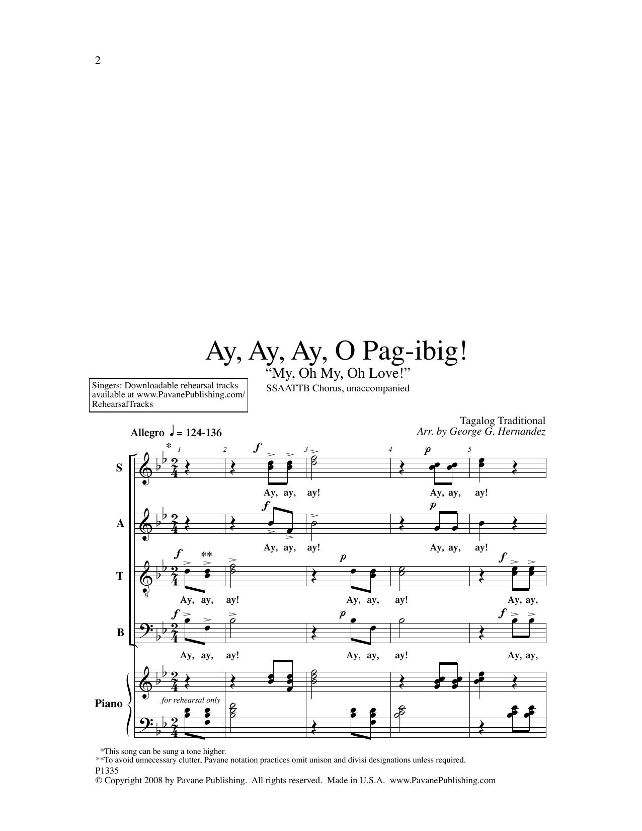 George Hernandez Ay, Ay, Ay, O Pag-ibig! sheet music notes and chords. Download Printable PDF.