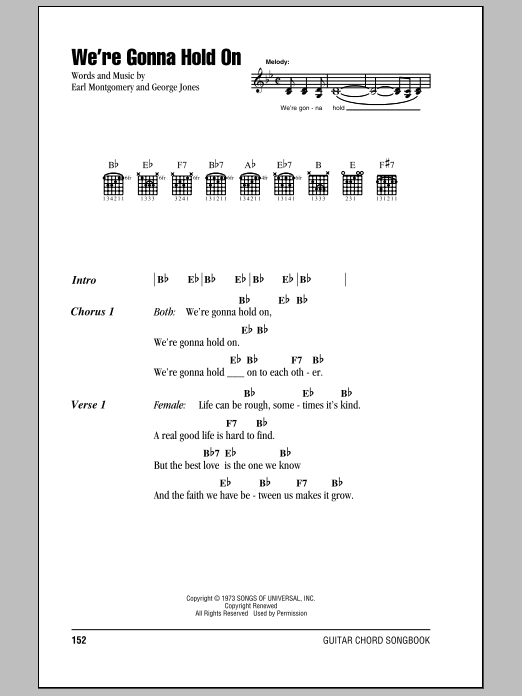 George Jones & Tammy Wynette We're Gonna Hold On sheet music notes and chords. Download Printable PDF.