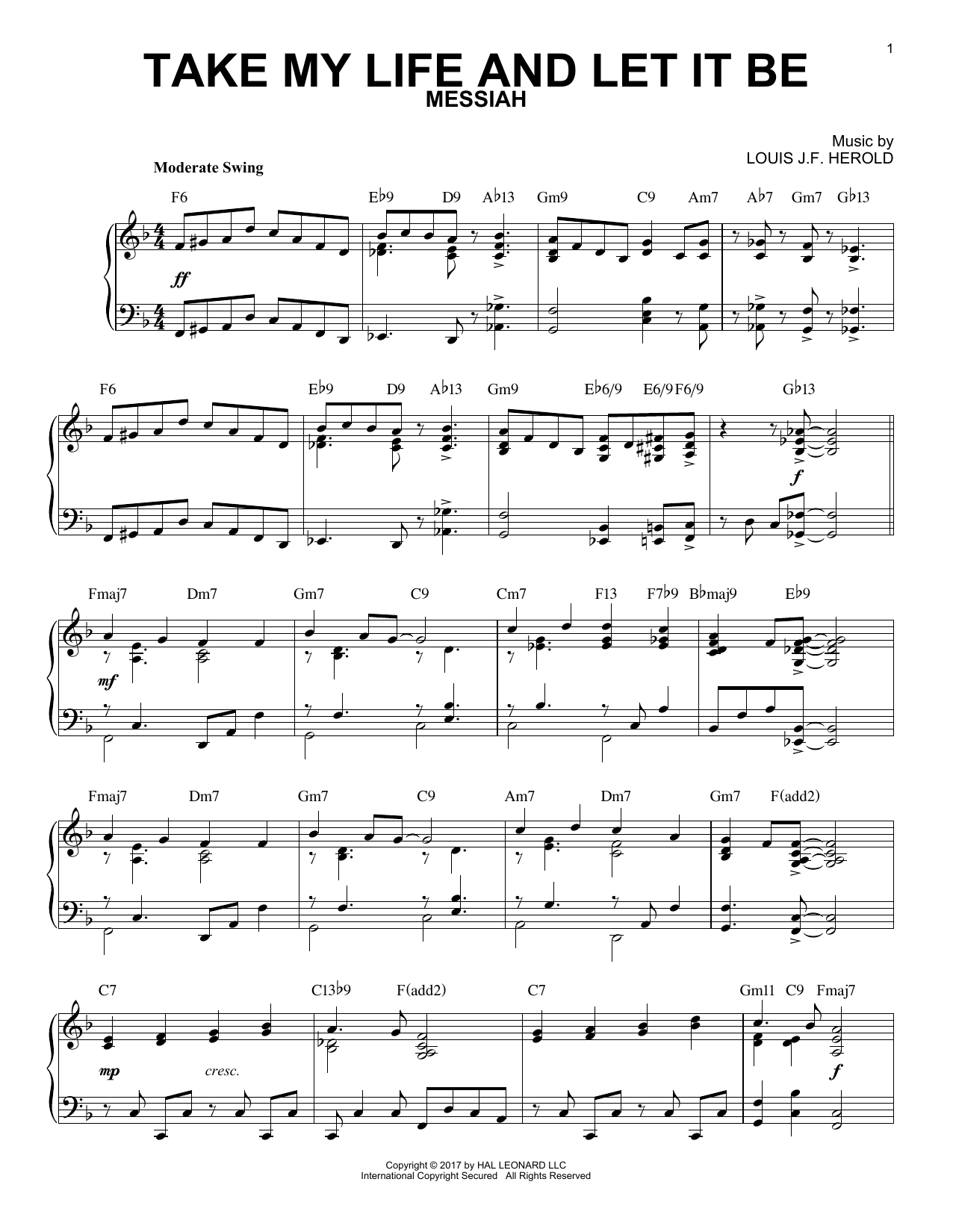 George Kingsley Take My Life And Let It Be sheet music notes and chords