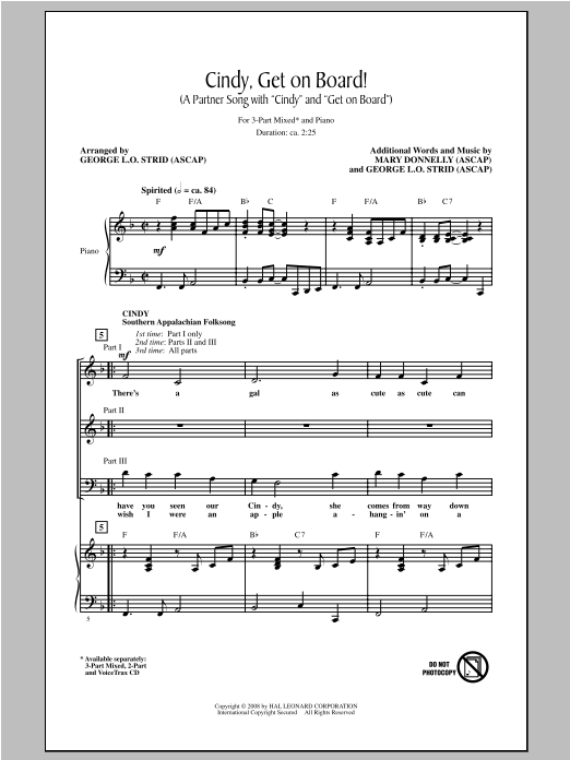 George L.O. Strid Cindy, Get On Board! sheet music notes and chords. Download Printable PDF.