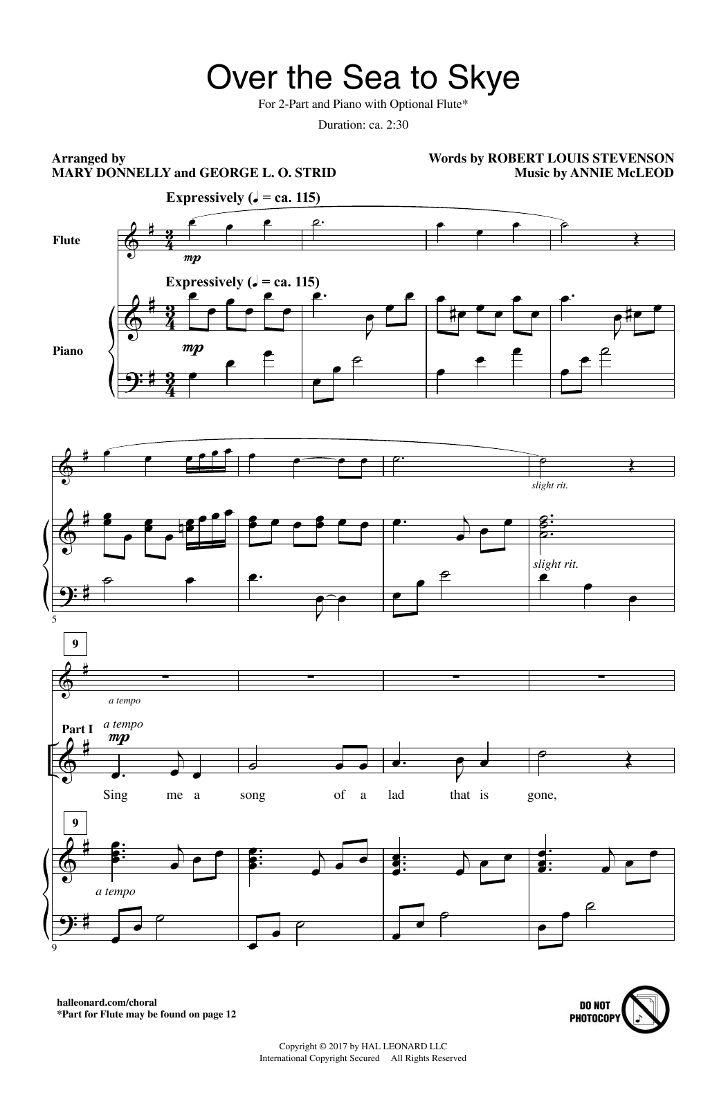 George L.O. Strid Over The Sea To Skye sheet music notes and chords. Download Printable PDF.