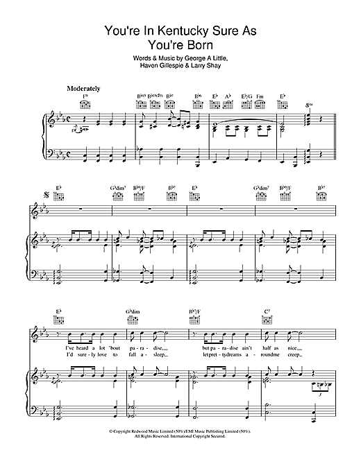 George Little You're In Kentucky Sure As You're Born sheet music notes and chords. Download Printable PDF.