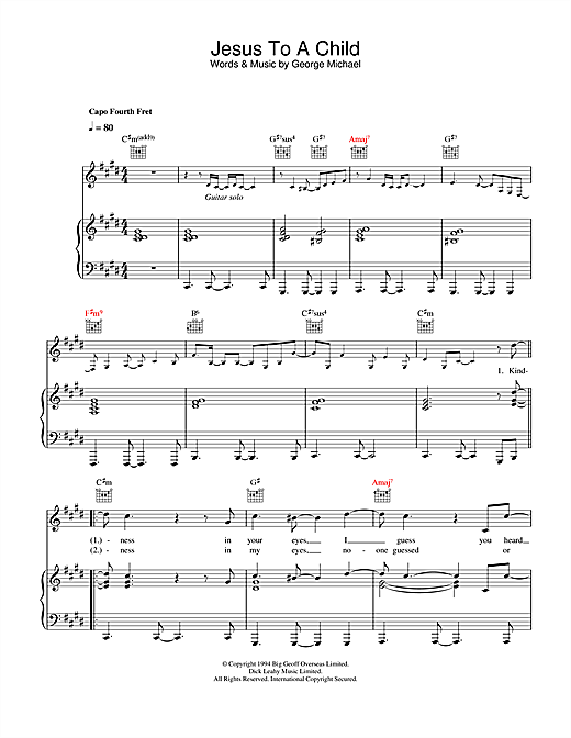 George Michael Jesus To A Child sheet music notes and chords