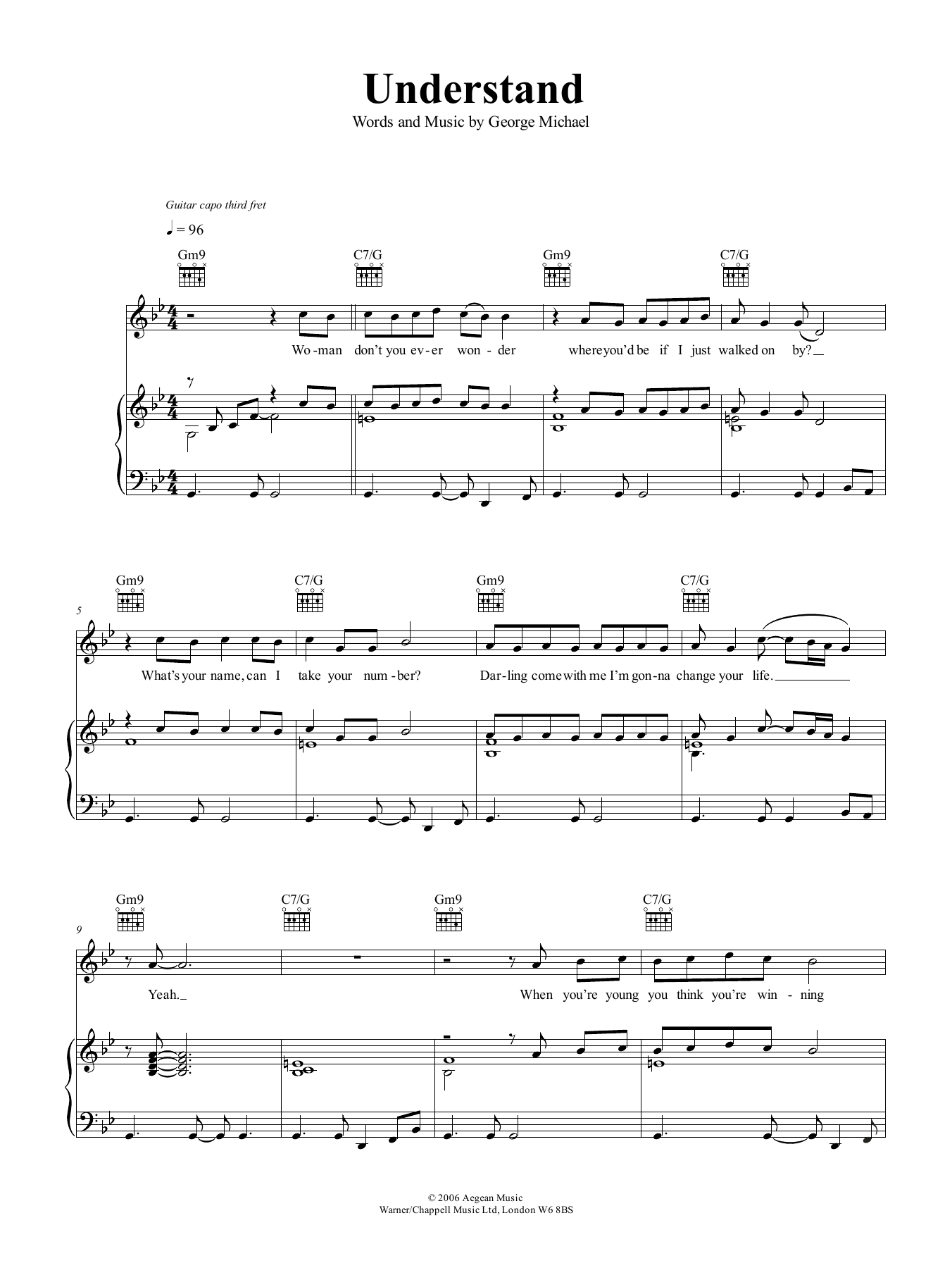 George Michael Understand sheet music notes and chords. Download Printable PDF.