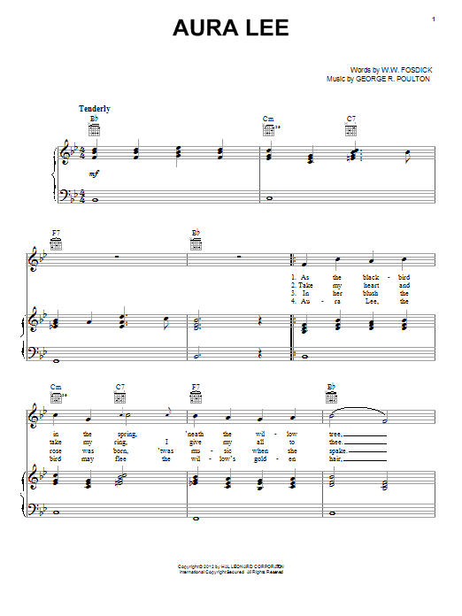 George R. Poulton Aura Lee sheet music notes and chords. Download Printable PDF.