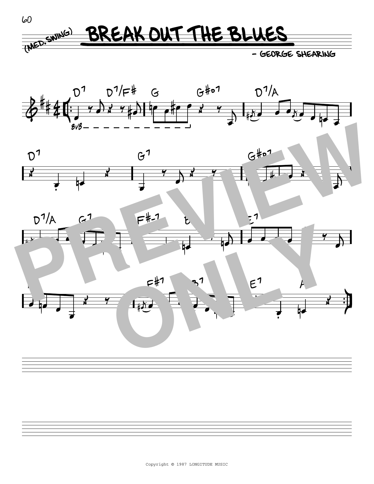 George Shearing Break Out The Blues sheet music notes and chords. Download Printable PDF.