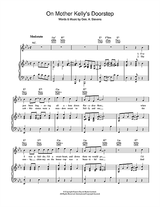George Stevens On Mother Kelly's Doorstep sheet music notes and chords. Download Printable PDF.