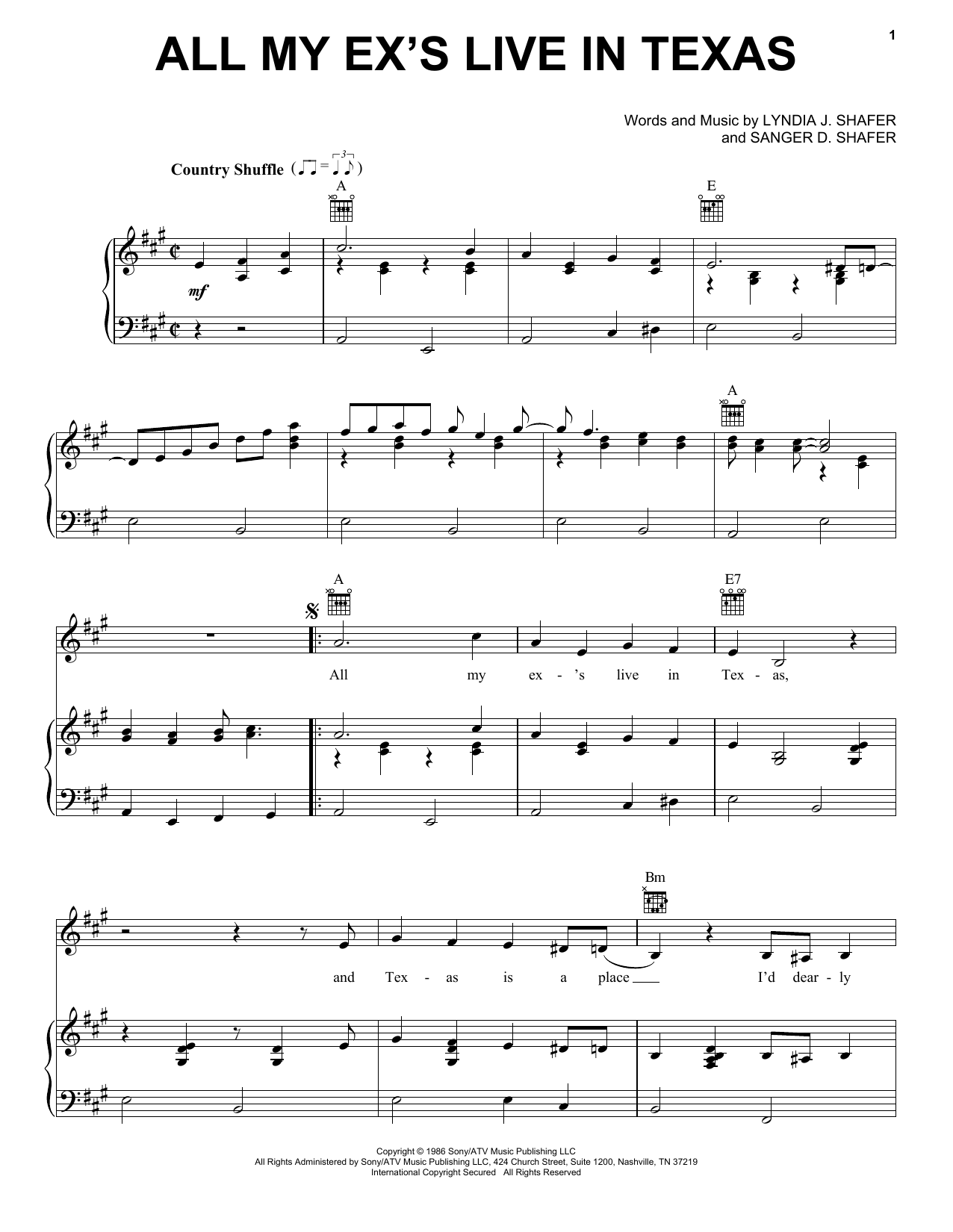 George Strait All My Ex's Live In Texas sheet music notes and chords. Download Printable PDF.