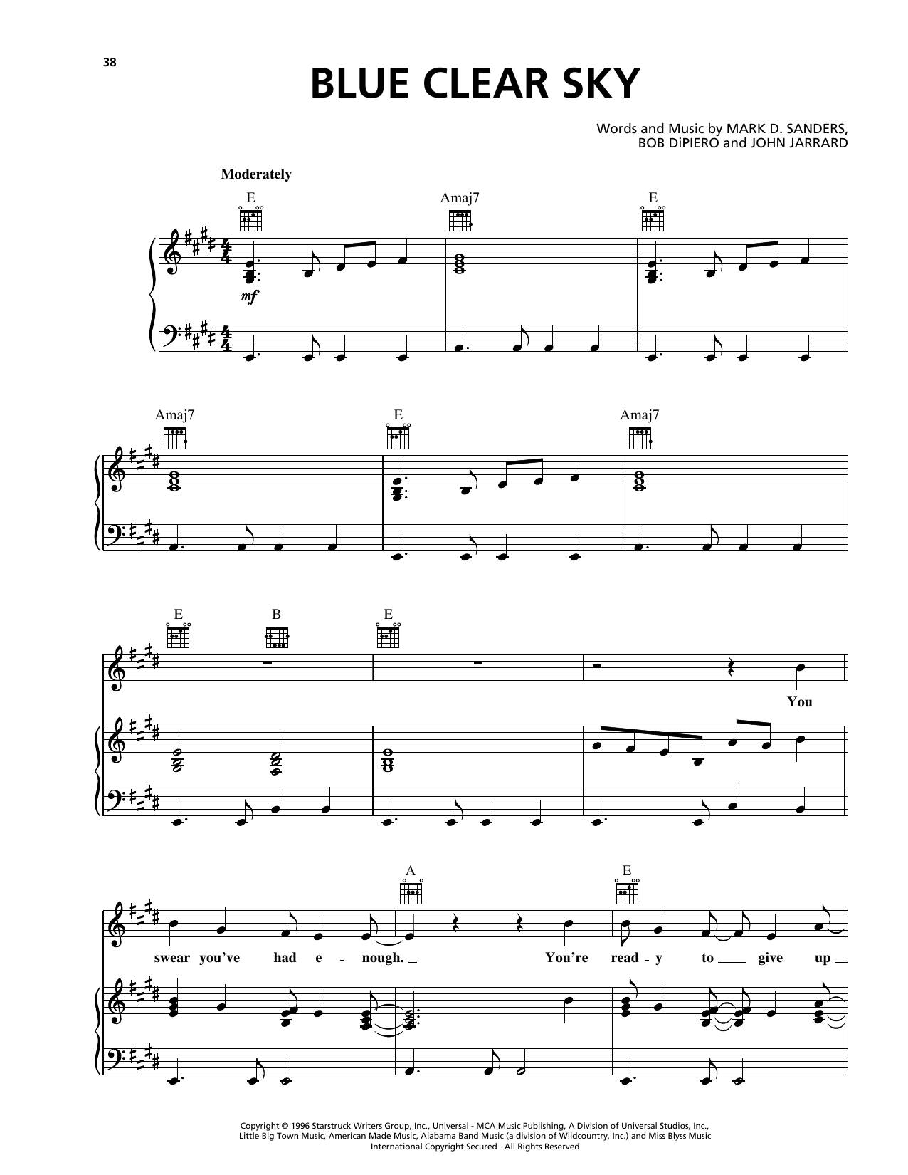 George Strait Blue Clear Sky sheet music notes and chords. Download Printable PDF.